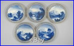 10 Copeland Reticulated Blue&White Hand Painted Cabinet Plates Castles&Nature