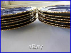 12 ANTIQUE 19c COPELAND SPODE BLUE & WHITE ASIAN DINNER PLATES GILT GADROON RIM