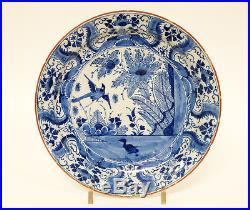 12 Antique 18thC Dutch Delft Pottery Blue & White Charger Plate De Grieksche A
