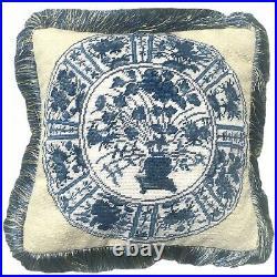 12 x 12 Handmade Wool Needlepoint Blue and White Japanese Imari Plate Pillow