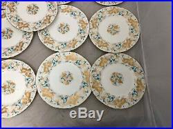 13 7 3/4 Coalport STRANGE ORCHID Salad Plate BLUE WHITE GOLD
