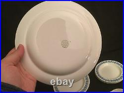 14 Piece Wedgwood Embossed Queensware Set White Blue Salad Bread Plate Cup Sauce