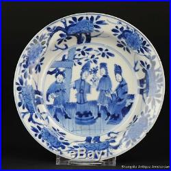 15.5CM Antique Chinese ca 1700 Kangxi Cobalt Blue White Dish Figures Rare Marked