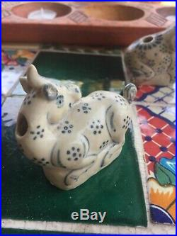 15th C. Antique Anamese Blue &White Unicorn/Goat inkwell Hoi An hoard shipwreck