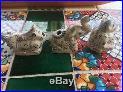 15th C. Antique Blue&White UNICORN/MONKEYS/ELEPHANT LOT OF 3 HOI AN SHIPWRECK