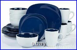 16 Piece two tone Blue / White Square Dinner set Plates Bowls Mugs Crockery Set