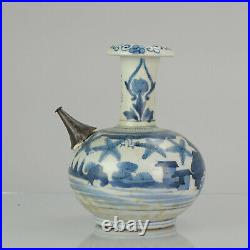 17C Edo Japanese Porcelain Arita Blue & White Ghendi Kendi Antique Flora