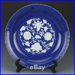 17 Chinese antique Porcelain ceramics Yuan Dynasty blue white peony plate