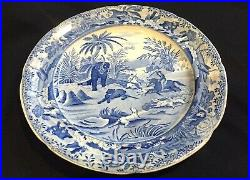 1820 Blue & White Transferware Pearlware Plate-from Bear Hunting Print by Howitt