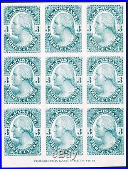 #184-E4e PLATE ESSAY OF 9 BLUE GREEN, IMPRINT BELOW ON STIFF WHITE WOVE HV3594