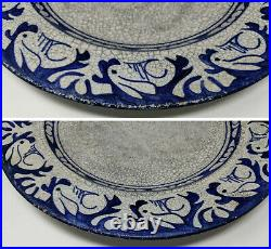 1896-1928 DEDHAM POTTERY 12.25 Rabbit Charger, Blue & White Arts & Crafts Plate