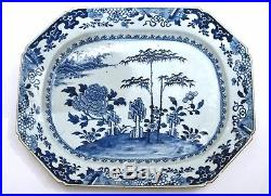 18C Chinese Export Blue & White Porcelain Bamboo Charger Plate Platter 41CM 16