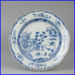 18C Chinese Porcelain Blue & White Plate Flowers Antique China Qing
