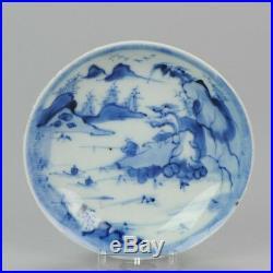 18C Chinese Porcelain Dish Fisheman Boats Landscape Antique Blue White