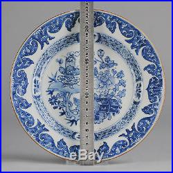 18C Chinese Porcelain Plate Blue & white Flowers & Baskets Good Condition