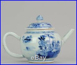 18C Chinese Porcelain Qianlong /Yongzheng Blue And White garden Teapot