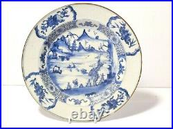 18thC Qianlong Chinese Blue & White Plate Mountain River Scene Carved Rim a/f