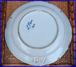18th C Antique Dutch Delft Faience Pottery Plate Charger Blue & White Signed 12