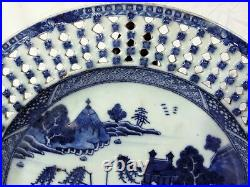 18th C Chinese Export Blue Willow White Porcelain Plate