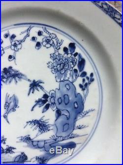18th C Yongzheng-Qianlong Octagonal Blue & White Plate diving Birds & riverbank
