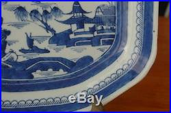 18th Century Chinese Canton Blue & White Medium Serving Platter Cloud & Rain