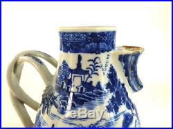 18th Century Chinese Qianlong Porcelain Blue & White Pear Shape Coffee Pot Gilt