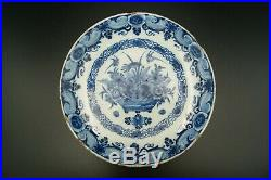 18th Delft Blue & White Dutch Porcelain Plate Handpainted Bird & Flowers Signed