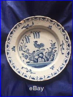 18th c Bristol Or London Rooster Plate 1740-50 Blue & White Delft
