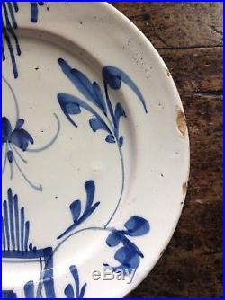 18th c Bristol blue &. White delft Plate 22cm