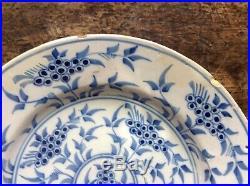 18th c Wincanton or Bristol Delft Plate Mimosa pattern blue & white, 1740's. No. 2