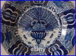 18th century DUTCH BLUE & WHITE DELFT PLATE'PEACOCK' DE KLAAUW
