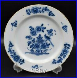 18thc English London Antique Delft Blue White Plate With Bird & Flowers