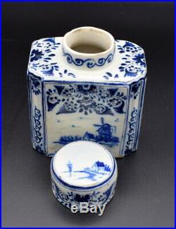 18thc Tea Caddy Antique Delft Faience Blue White Tea Caddy Painted Blue Flowers