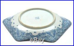 1910's Japanese Imari Blue & White Porcelain Fan Shaped Plate Waves Koi Fish Mk
