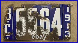 1913 British Columbia Canada license plate 5564 porcelain white blue first year