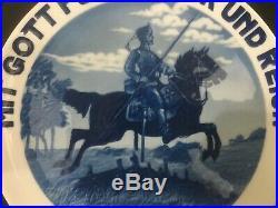 1914 German Rosenthal Blue & White Porcelain Plate Military WWI Kaiser