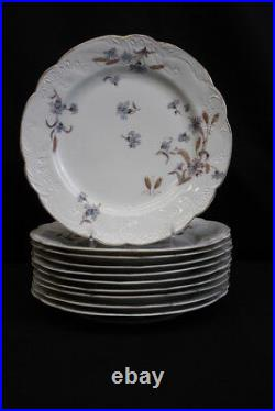 1920's Set of 10 Carlsbad Blue Flowers withWheat 9 3/4 Dinner Plates CAR189