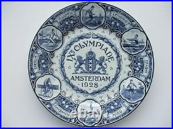 1928 Amsterdam Olympic Delft plate IX Olympiade Blue and White