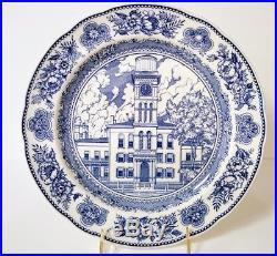 1931 Wedgwood Yale University Set Of 10 Plates -10 White And Blue