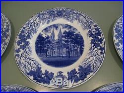 1948 Bowdoin College Wedgwood Set 6 Dinner Plates Blue & White Chapel historical