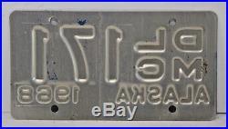 1968 Dealer Motorcycle Alaska License Plate White & Blue Mega Rare
