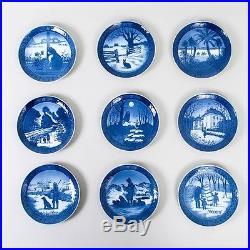 1970's Lot of 9 Royal Copenhagen Christmas Plates Blue White Denmark 7.25 Diam