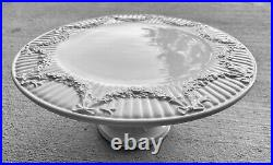 1996-2000 RARE TIFFANY & CO White Garland Footed Cake Plate Italy Blue Box WOW