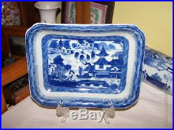 19TH Chinese Export Porcelain Blue & White Canton Porcelain TRAY PLATE SQUARE