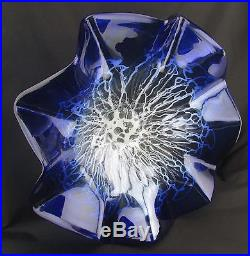 19 Hand Blown Art Glass Table Platter Plate Blue White Clear Wall Hanging Mount