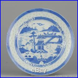 19c chinese antique porcelain plate rice blue white decoration china dish qing