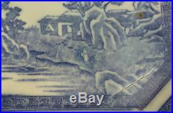 19th C. ANTIQUE JAPANESE BLUE & WHITE 12 OCTAGONAL PLATTER, MEIJI PERIOD
