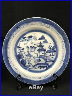 19th C Chinese Export Porcelain Canton Blue & White Plates (Lot of 10) (#60)
