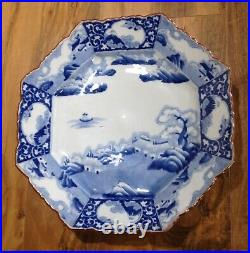 19th C. Japanese Blue & White huge CHARGER octagonal 8 sided large plate antique
