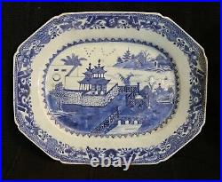 19th Canton Chinese Export Blue & White Porcelain Platter
